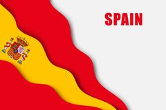 Paper cut background. With Flag of Spain vector illustration