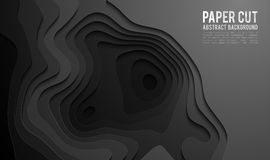 Paper cut banner concept. Paper carve black background for card poster brochure flyer design in black colors. 3d. Paper cut banner concept. Paper carve abstract Royalty Free Stock Photo