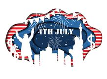 Paper cut banner for Independence Day July 4 USA. Stylish paper cut banner for Independence Day July 4 USA with Statue of Liberty, Uncle Sam, lights, stars, and Royalty Free Stock Photo