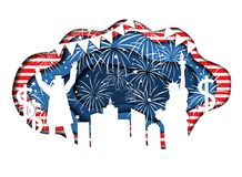 Paper cut banner for Independence Day July 4 USA. Stylish paper cut banner for Independence Day July 4 USA with Statue of Liberty, Uncle Sam, lights, stars, and Stock Images