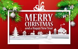 Paper cut banner and realistic branches. Paper cut and craft Merry Christmas applique background with realistic christmas tree branches. Landscape with houses Stock Images