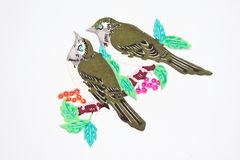 Paper-cut of birds. And flowers Royalty Free Stock Images