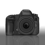 Paper cut of black slr digital camera isolated is body icon for. The paper cut of black slr digital camera isolated is body icon for professional photography Royalty Free Stock Photography