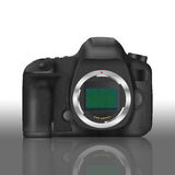 Paper cut of black slr digital camera isolated is body icon for. The paper cut of black slr digital camera isolated is body icon for professional photography Stock Images