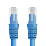 Paper cut of blue cable for ethernet, internet network or lan li Royalty Free Stock Images