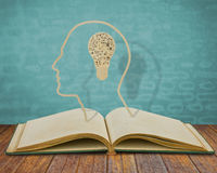 Paper cut of book and  light bulb inside Stock Photo