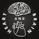Paper cut of  brain and heart Stock Photography