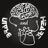 Paper cut of  brain and heart Royalty Free Stock Photo