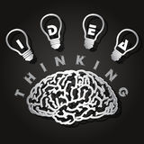 Paper cut of  brain and light bulbs Royalty Free Stock Photography