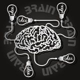 Paper cut of  brain and light bulbs Royalty Free Stock Photos
