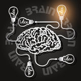 Paper cut of  brain and light bulbs Royalty Free Stock Images