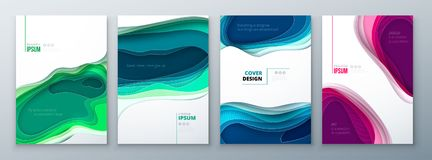 Paper cut brochure design paper carve abstract cover for brochure flyer magazine catalog design in green teal blue. Colors stock illustration