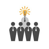 Paper cut of businessman with lamp in business is intelligence m Royalty Free Stock Image