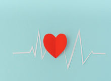 Paper cut of cardiogram of heart rhythm for Valentines Day . Paper cut of cardiogram of heart rhythm for Valentines Day Royalty Free Stock Photos