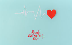 Paper cut of cardiogram of heart rhythm for Valentines Day . Royalty Free Stock Image