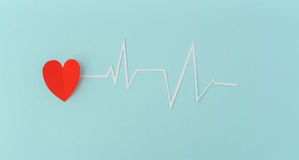 Paper cut of cardiogram of heart rhythm for Valentines Day . Royalty Free Stock Images