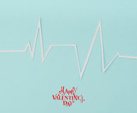 Paper cut of cardiogram of heart rhythm for Valentines Day . Royalty Free Stock Photos