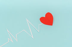 Paper cut of cardiogram of heart rhythm for Valentines Day . Stock Photos