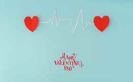 Paper cut of cardiogram of heart rhythm for Valentines Day . Stock Photography