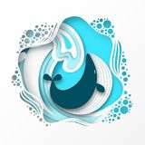 Paper cut cartoon whale on sea or ocean wave in origami trendy style. Paper cut cartoon whale on sea or ocean wave in origami trendy craft style. Happy cartoon stock illustration