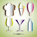 Paper cut chef mix, hat, icecream, cup and bottle, menu design b Royalty Free Stock Photos