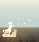 Paper cut of child play Royalty Free Stock Image