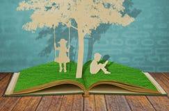 Paper cut of children. Stock Photo