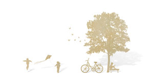 Paper cut of children play and tree Royalty Free Stock Photos