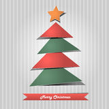 Paper Cut Christmas tree background Royalty Free Stock Image
