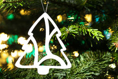 Paper cut Christmas tree ornament Royalty Free Stock Photo