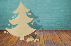 Paper cut of christmas tree on room. Royalty Free Stock Photo