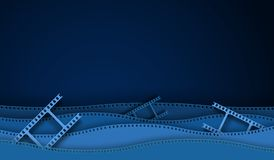 Paper cut cinema decorations with film strip frame isolated on blue background. 35 mm camera diapositive for design layout cinema vector illustration