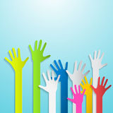 Paper Cut Colorful Hands Royalty Free Stock Photo