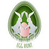 Paper cut concept Easter egg hunt with bunny and eggs hidden in the grass. Template for Easter postcard. Invitations banner, poster vector illustration