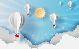 Paper cut and craft of Background with clouds on blue sky.Landscape for sunlight on cloudscape.Summer season Hot concept.Summer. Time by balloons giftbox vector illustration