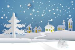 White Paper cut winter. Paper cut and craft winter landscape with evergreen tree, house, snowman, moon and snowflakes. Holiday nature and christmas tree. Web Stock Images