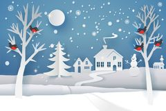 Paper cut winter night. Paper cut and craft winter landscape with evergreen tree, house, snowman, moon and snowflakes. Holiday nature and christmas tree. Web Royalty Free Stock Photography