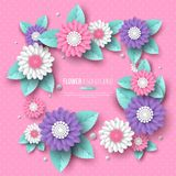 Paper cut 3d flower frame in pink, white and violet colors. Place for text, dotted pattern. Decorative elements for. Holiday design. Vector illustration vector illustration