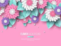 Paper cut 3d flowers banner in pink, white and violet colors. Place for text. Decorative elements for holiday design. Vector illustration Royalty Free Stock Photography