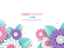 Paper cut 3d flowers banner in pink, white and violet colors. Place for text. Decorative elements for holiday design. Vector illustration Stock Photos