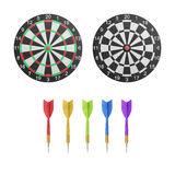 Paper cut of dartboard with target icon is isolated for competit Royalty Free Stock Image
