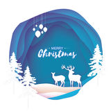 Paper cut deer couple in snowy Christmas tree forest. Merry Christmas Greeting card. Origami winter season. Happy New. Year. Paper art style. Circle cave Royalty Free Stock Image