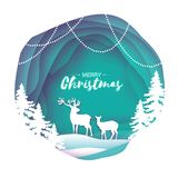 Paper cut deer couple in snowy Christmas tree forest. Merry Christmas Greeting card.. Paper cut deer couple in snowy Christmas tree forest. Merry Christmas Royalty Free Stock Image