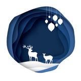 Paper cut deer couple in snowy nature. Merry Christmas Greeting card. Origami winter season. Happy New Year. Paper art. Style. Blue Circle cave layered frame Royalty Free Stock Images
