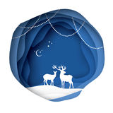 Paper cut deer couple in snowy nature. Merry Christmas Greeting card. Origami winter season. Happy New Year. Paper art. Style. Blue Circle cave layered frame Royalty Free Stock Photos
