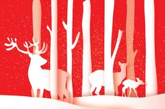Paper cut deer family in forest. Merry Christmas Greeting card. Origami winter season. Happy New Year. Birch trunk Royalty Free Illustration