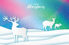 Paper cut deer family. Nature landscape. Merry Christmas Greeting card. Origami winter season. Happy New Year. Birch Royalty Free Illustration