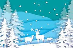Paper cut deer family in snowy Christmas tree forest. Merry Christmas Greeting card. Origami winter season. Happy New Royalty Free Stock Photography