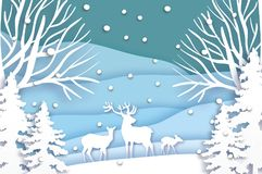 Paper cut deer family in snowy Christmas tree forest.. Merry Christmas Greeting card. Origami snowy winter season. Happy New Year. Paper art style. Pine and Royalty Free Stock Photo