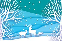 Paper cut deer family in snowy forest and landscape. Merry Christmas Greeting card. Origami winter season. Happy New. Year. Birch trunk. Paper art style. Blue Royalty Free Stock Image